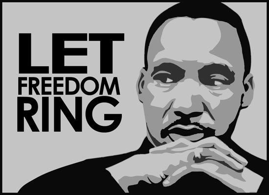 "Image of Martin Luther King, Jr. with caption ""Let Freedom Ring."""