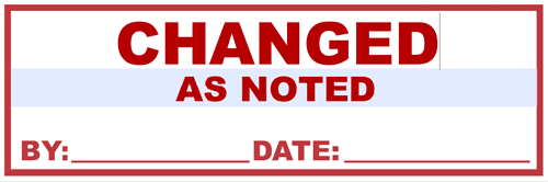 """Changed as Noted"" stamp"