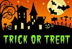scary house silhouettes with trick-or-treat label