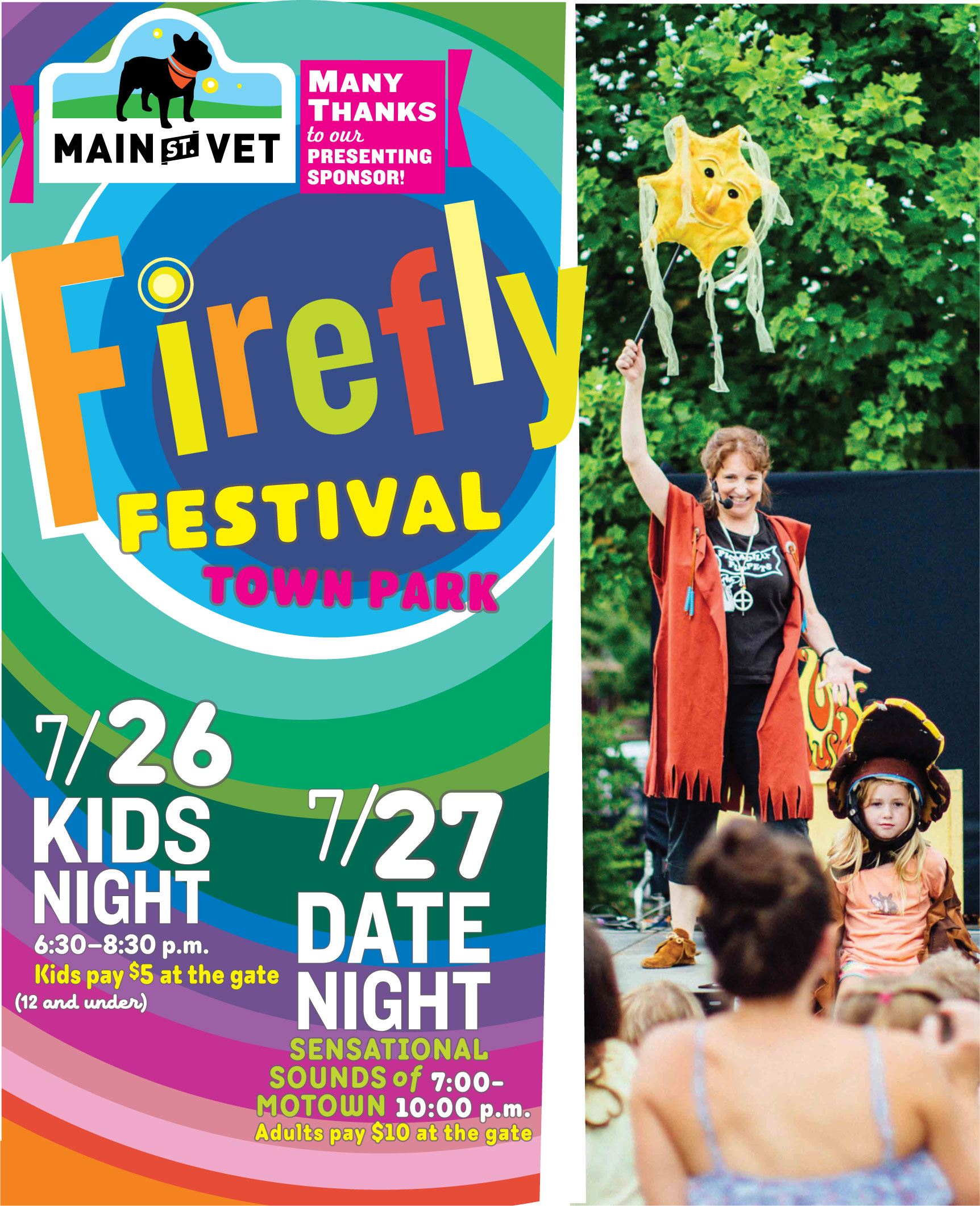 Firefly Festival logo and photo of storyteller with kids