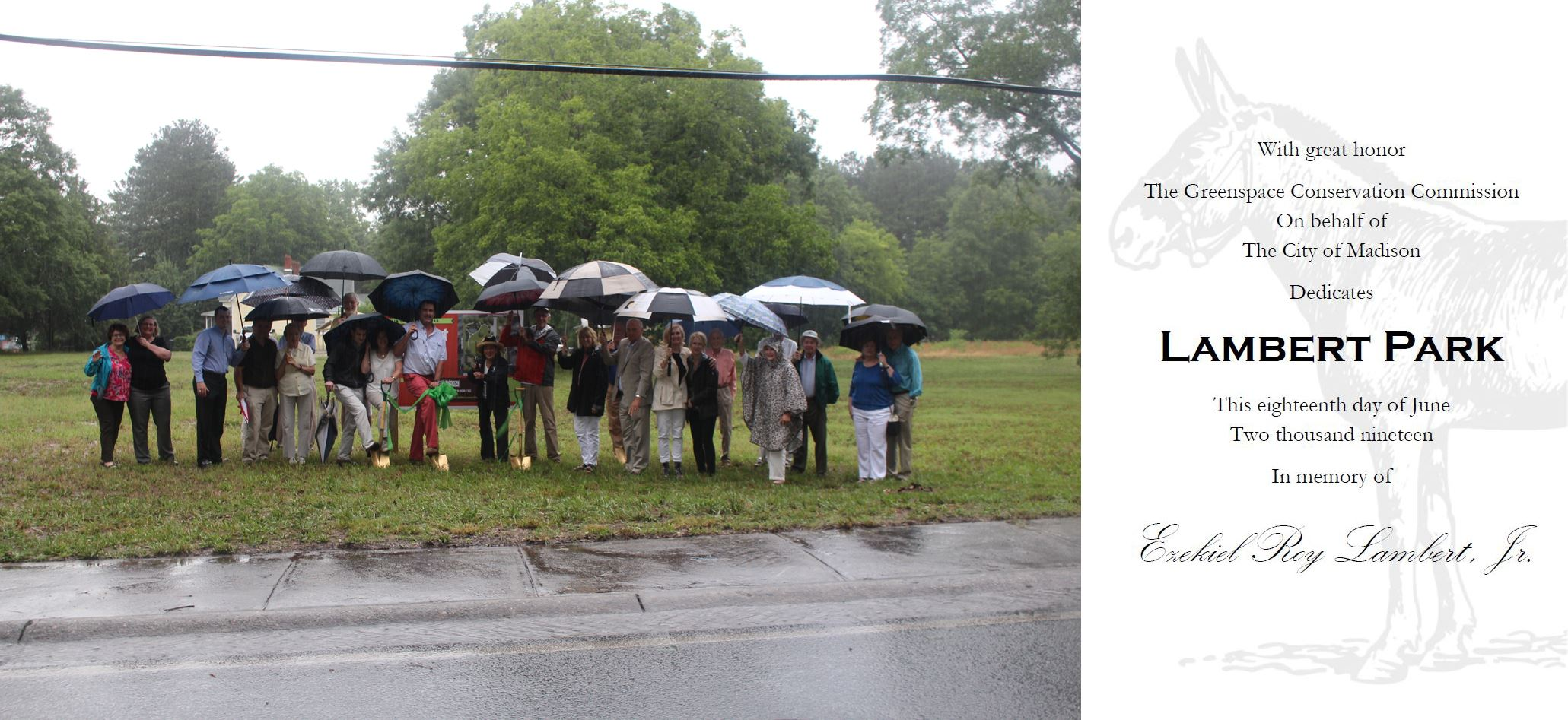 Crowd with umbrellas at Lambert Park Ground Breaking